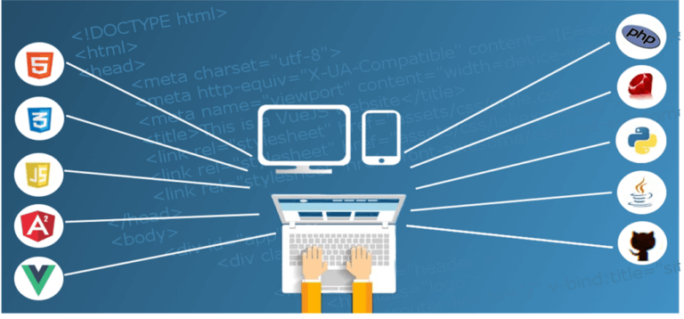 Laptop graphic with someone typing