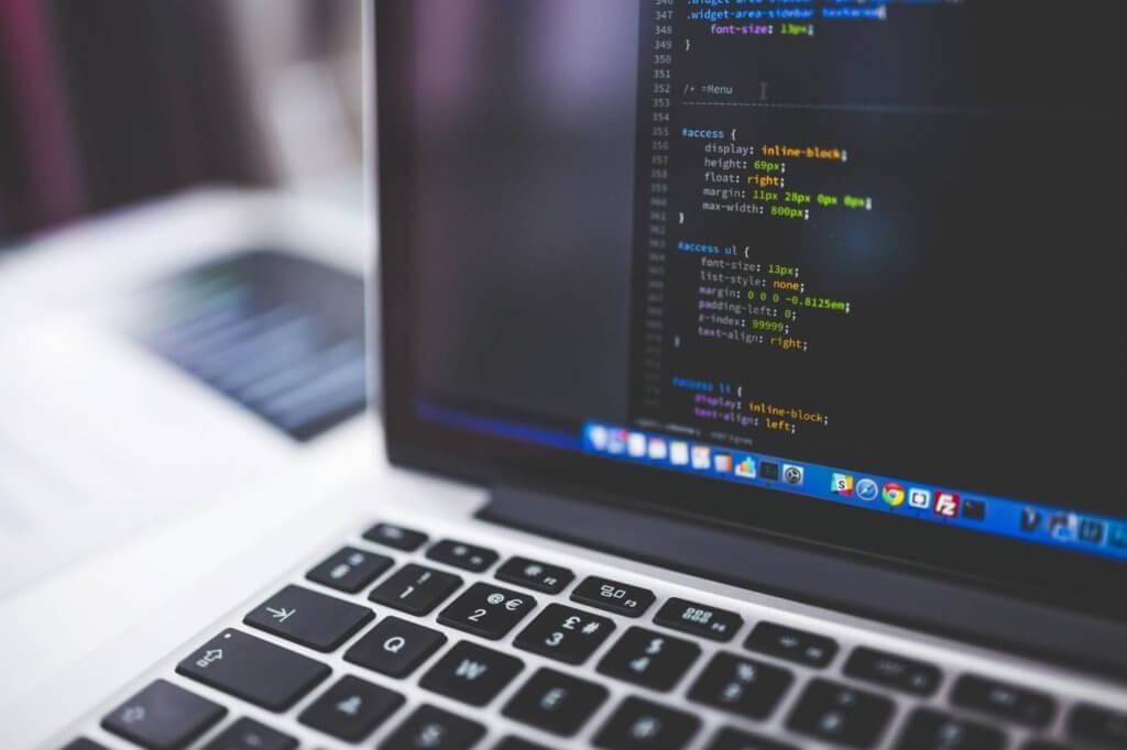 Website code on a laptop