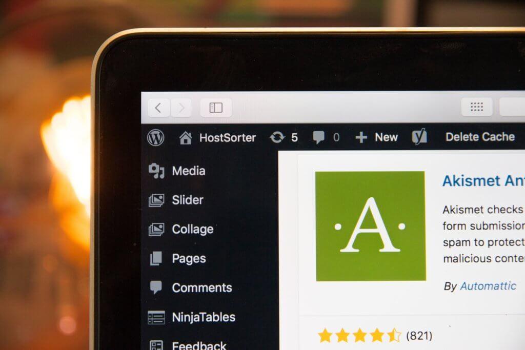 WordPress admin area showing the Akismet spam prevention plugin