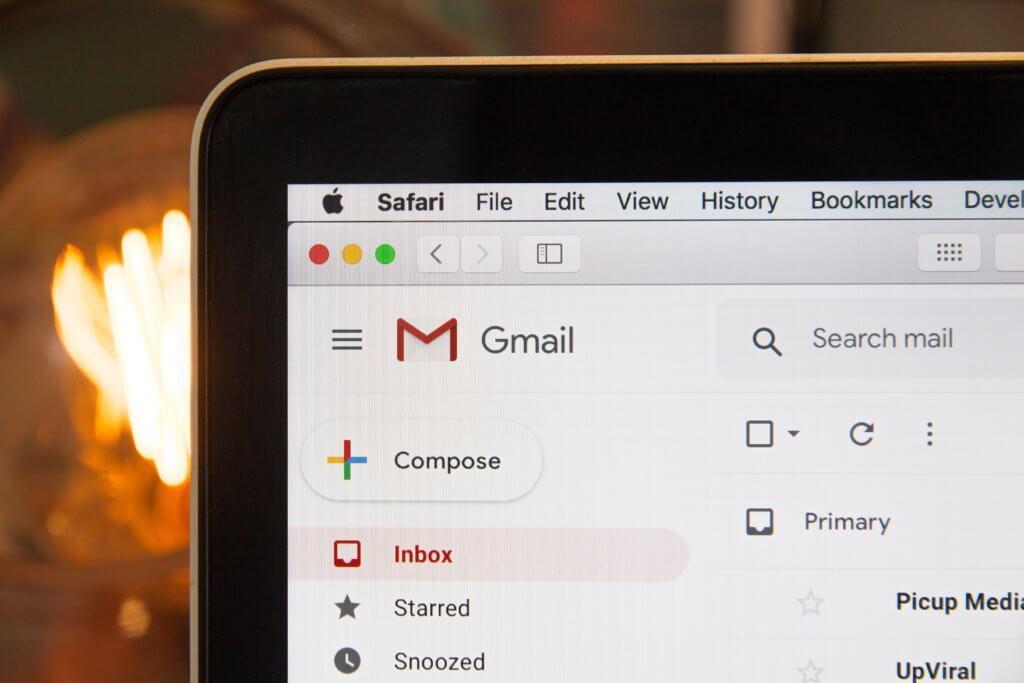 black laptop computer showing Gmail